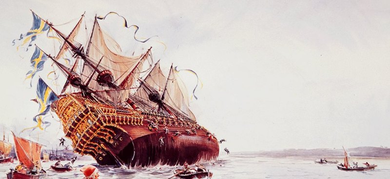 The picture of a sinking ship Vasa